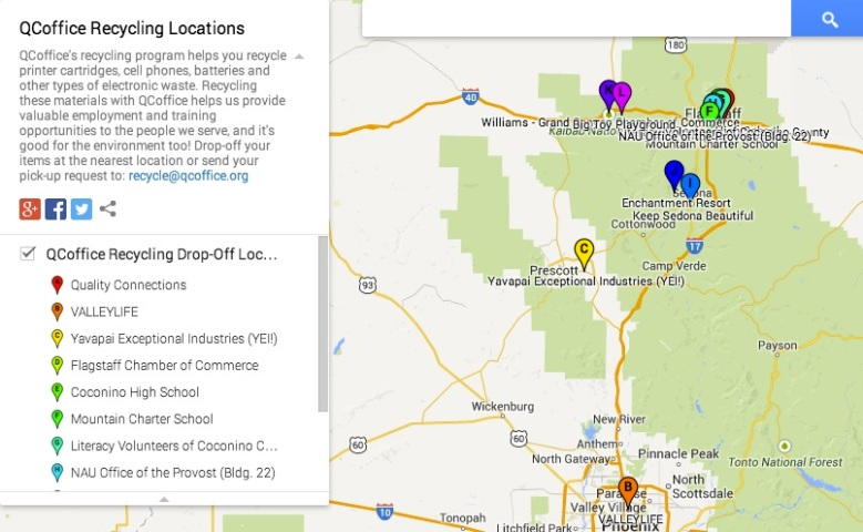 Flagstaff Office Supplies Quality Connections - Map of locations available to recycle in the us